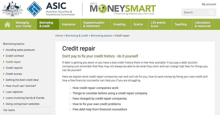 ASIC Credit Repair