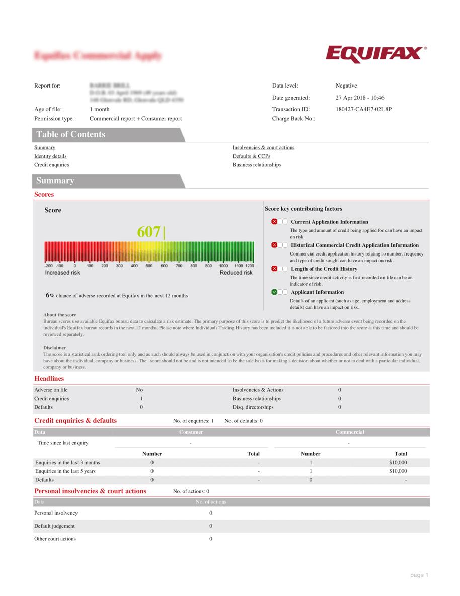 Equifax Credit Report Sample