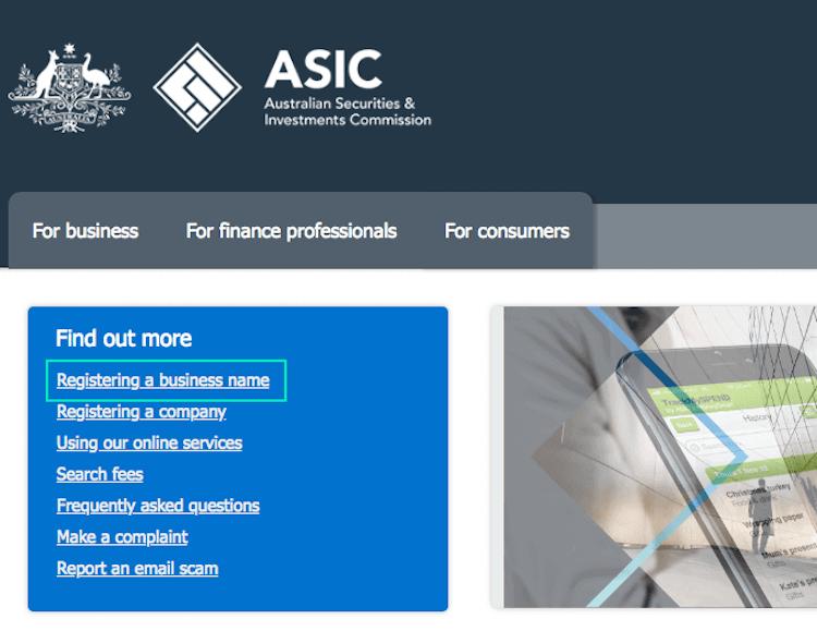 ASIC - Register Business Name