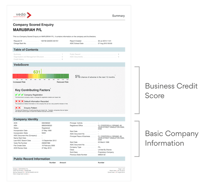 Credit Report Example Page 1 Explained