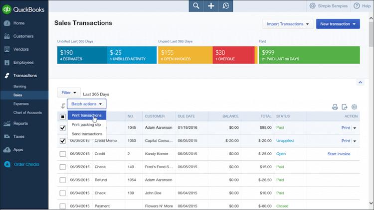 QuickBooks Sales Transactions