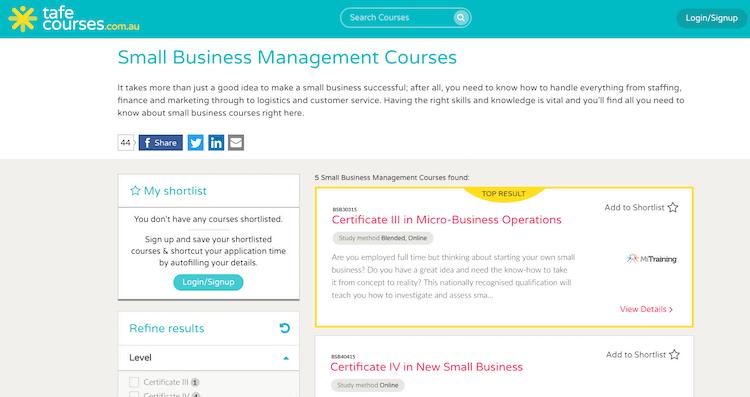 TAFE Course Business Management