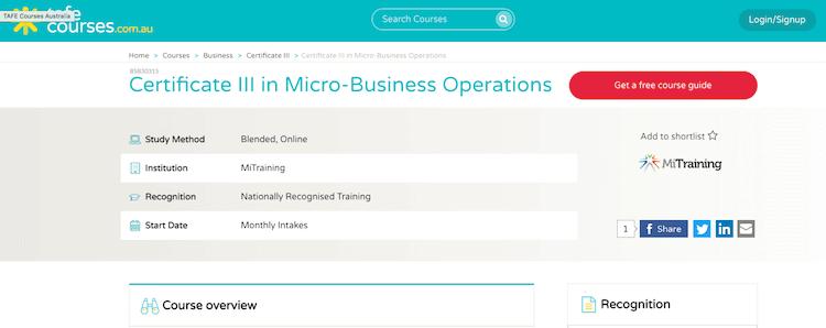 TAFE Course Cert3 Micro Business