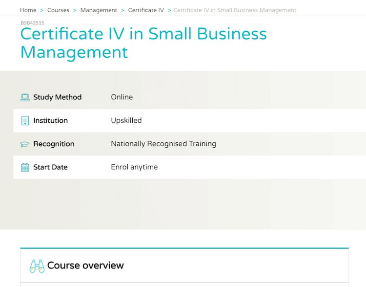 TAFE Course Cert4 Business Management Upskilled