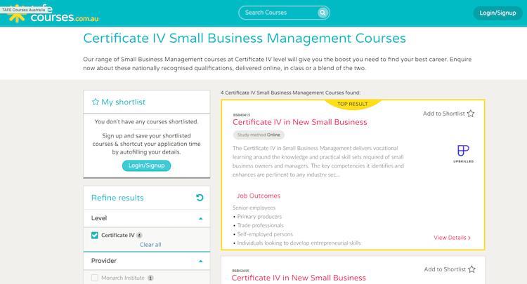 TAFE Course Cert4 Business Management