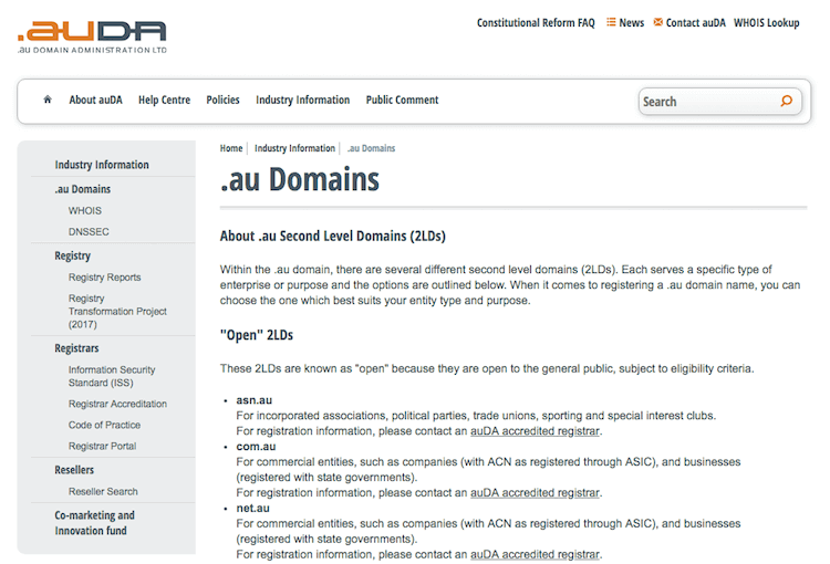 Domain Name List Australia
