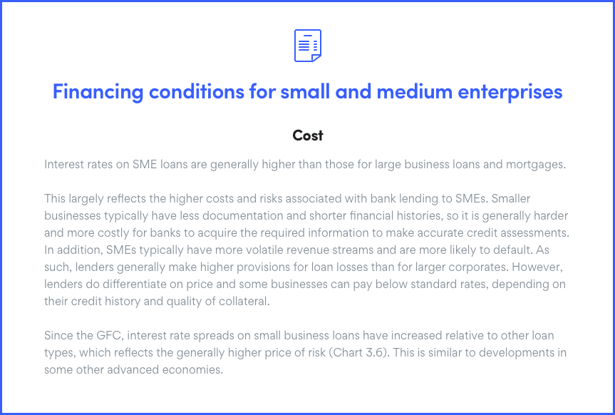 Financial Conditions for Small and Medium Business